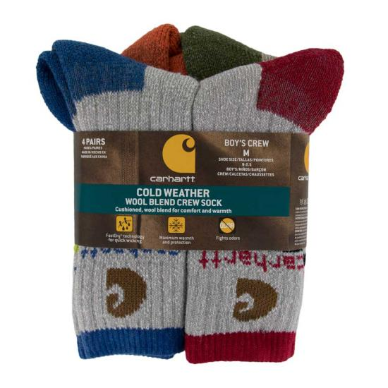 1f77462d43ab5 Carhartt BA312-4 - Boy's Cold Weather Crew Sock 4-Pack   Dungarees